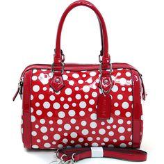 Women's Petite Glossy Polka Dot Fashion Satchel w/ Bonus Strap - Red/White, $45  http://jodezegifts153.shopinterest.co/