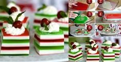 Looking for some festive finger food for the holiday season? Why not try these DIY Holly Jolly jelly shots. These jelly shots are spiked with vodka and can be Christmas Jelly Shots, Christmas Tree Food, Christmas Desserts, Christmas Treats, Christmas Baking, Holiday Treats, Holiday Recipes, Christmas Eve, Handmade Christmas
