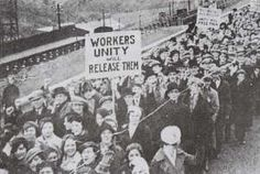 Demonstration against the imprisonment of Taf Merthyr miners following strike action in 1935.