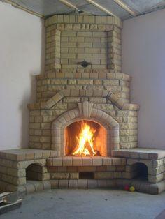 Farmhouse Fireplace Mantels, Home Fireplace, Fireplaces, Brick Bbq, S Brick, Wood Stove Hearth, Mantel Mirrors, Chiminea, Brick Architecture