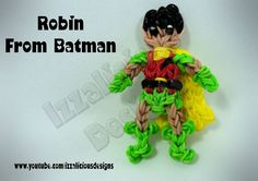 Rainbow Loom ROBIN (Batman) figure. Designed and loomed by Kate Schultz of Izzalicious Designs. Click photo for YouTube tutorial. 05/10/14.