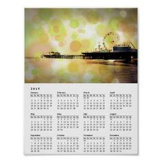 Orange Santa Monica Pier Bubble 2015 Calendar
