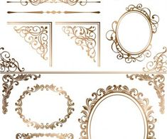 Gold ornamental elements and frames vector 2020 Vector Free Download, Vintage Art Prints, Vintage Frames, Silhouette Vector, Silhouette Design, Boarders And Frames, Native American Images, Laser Machine, Tags
