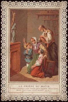 "The Morning Prayer holy card.  Translates: ""Protect O Lord, this family for which Jesus Christ Thy Son hast deigned to die. - Missale Romanum"""