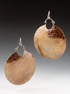 Large Copper Textured Earrings. $45.00, via Etsy.