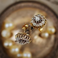 Ablaze with a passionately glittering fire these awesome vintage Diamond earrings have a really impressive presence! Veritable ear-baubles!!  #fetherayjewels #antiqueearrings #vintageearrings #earbaubles #sparklyearbaubles