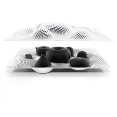 designed by Ross Lovegrove. The sculptural tea set epitomizes his desire to mimic the natural by embracing the digital.  The forms of the vessels are directly derived from the way in which the human hand cradles and manipulates objects. Initially, Ross experimented with water balloons to visually guide the aesthetic of the vessels so as to artificially create a naturally responsive dynamic between object and user.