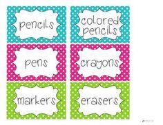 Supply Labels {polka dots}