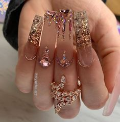 Bling Acrylic Nails, Best Acrylic Nails, Rhinestone Nails, Bling Nails, Swag Nails, Gold Nails, Perfect Nails, Gorgeous Nails, Acryl Nails