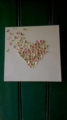 White canvass Butterfly Heart by sweetpeaandblue on Etsy, Dementia Activities, Butterfly, Heart, Etsy, Blue, Butterflies, Hearts, Caterpillar