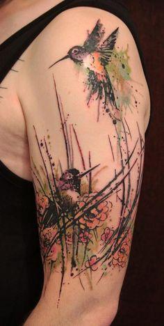Hummingbird Blossom Tattoo