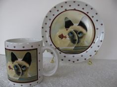 Siamese Cat Watching Fish in Bowl by Lowell Herrero Mug Matching Plate 1986 | eBay