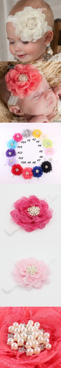 Girl Toddler Lace Pearl peony Flower Baby Headband Wide Band Hairband Soft Elastic Hair Band Headwear hair Accessories 1pc