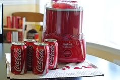 DIY Coke Icee: 4 cans of cold Coke and an ice cream maker.process for 20 mins. Yummy Ice Cream, Ice Cream Maker, Homemade Ice Cream, Homemade Food, Slushy Alcohol Drinks, Non Alcoholic Drinks, Cocktails, Slurpee, Slushies