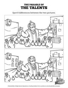 The Parable of the Talents Kids Spot The Difference: Can your kids spot the difference between these two Parable of the Talents illustrations? Packed with silly fun and gorgeous artwork this Parable of the Talents activity will make a great addition to yo Bible Activities For Kids, Bible Crafts For Kids, Preschool Bible, Sunday School Lessons, Sunday School Crafts, Parable Of The Talents, Contexto Social, Parables Of Jesus, Bible Coloring Pages