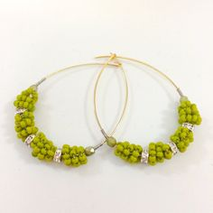Wire Wrapped Beaded Hoops//Summer Wedding Bridesmaids Gift Idea