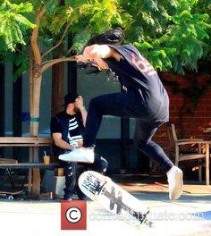 dj skrillex sighted doing skateboarding BurrisImage Exclusive.