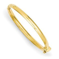 Other Fine Pins and Brooches 11007: 14K Yellow Gold Polished 3.75Mm Hinged Safety Clasp Baby Bangle-Jdb573 -> BUY IT NOW ONLY: $244.12 on eBay!