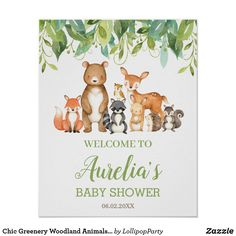 Poster Woodland Baby, Woodland Animals, Woodland Creatures, Create Your Own Poster, Baby Shower Welcome Sign, Virtual Baby Shower, Cute Funny Animals, Baby Shower Parties, Shower Party