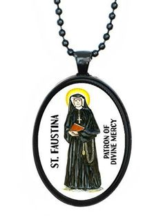 St Faustina Patron of Divine Mercy Huge 30x40mm Black Pendant