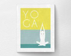 Yoga Print Yoga Studio Decor Typography by LotusLeafCreations