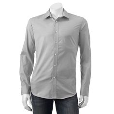 Men's Apt. 9® Slim-Fit Stretch End-On-End Button-Down Shirt, Size: Large Slim, Grey
