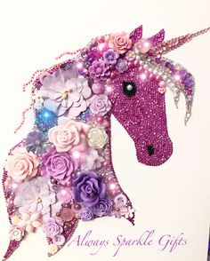 Pink lavender and lilac sparkling unicorn. Mixed media art