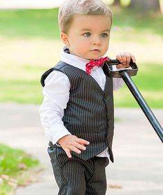 Look at this RuggedButts Black Pinstripe Vest - Infant, Toddler
