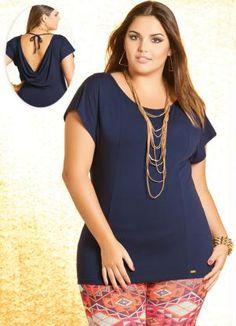 2f838874d9 Blusa Plus Size Azul Marinho Decote nas Costas - Quintess