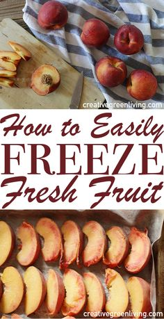 It's easy to preserve summer fruit in the freezer. Check out this post for easy step-by-step instructions for freezing peaches, strawberries, blueberries or nectarines with NO sugar needed! Perfect fo (Diy Food Step By Step) Freezing Fruit, Freezing Vegetables, Fruits And Veggies, Frozen Fruit, Frozen Meals, Fresh Fruit, Frozen Blueberries, Fruit Recipes, Vegan Recipes Easy