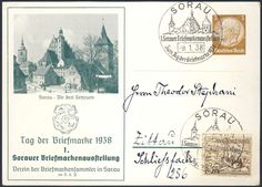 Germany, German Empire, Deutsches Reich 1938, 3 Pfg.-GA-Privatpostkarte, 1. Sorauer Briefmarken-Ausstellung, mit Sonderstempel, mit Beifrankatur, gelaufen, ohne Inhalt (Mi.-Nr.PP122 C66). Price Estimate (8/2016): 10 EUR. Unsold.
