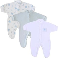 Premature Early Baby Clothes Pack of 3 Sleepsuits  Babygros upto 15lb35lb55lb75lb Blue Teddy -- Click image to review more details.Note:It is affiliate link to Amazon.