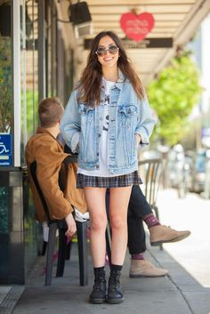 Brunching Has Never Looked THIS Good #refinery29  http://www.refinery29.com/68064#slide4  Name: Alex Lilienfeld Gig: Works at The Chapel Waiting In Line For: Boogaloos What She's Wearing: Doc Marten shoes, thrifted skirt and shirt, Levi's jacket, and Urban Outfitters sunglasses.