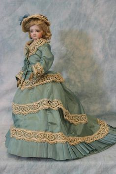 """13.75"""" Very Pretty Antique French Fashion Doll FG Gaultier Size 1 Great Ensemble"""