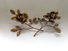 Pair of large brass roses on stems- candle holders by FromThenOn on Etsy