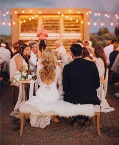 Weddingchella Desert Wedding tablescape + sweetheart table under string lights