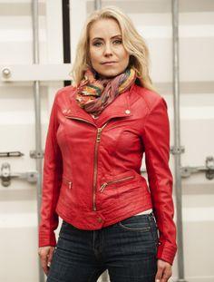 """Gina"" Biker jacket made of smooth lamb leather. Finish: natural garment washed. Spring 2014"
