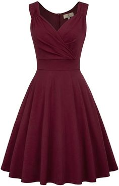Bridesmaid Dresses Women's Vintage Sleeveless V-Neck Cocktail Swing Dress Cocktail Dress Classy Elegant, Elegant Dresses Classy, A Line Cocktail Dress, Sophisticated Dress, Classy Dress, Simple Dresses, Nice Dresses, Long Dresses, Cocktail Dresses