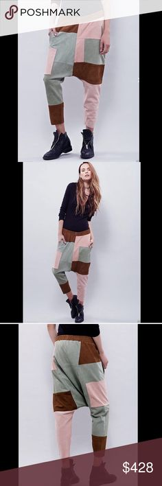 """Free People  mint brown blush  Suede Pants M Free People One Teaspoon mint brown blush Panama Suede Harem Pants Statement suede harem pants with an extreme dropped rise and patchwork design pull on style, featuring a smocked elastic waist, fabric lining and hip pockets New Without Tags  *  Size:  Medium retail price:  $458.00  * there is a black line through tag * due to the light colors and the nature of the natural suede   measures: 34"""" around relaxed elastic waist 17.5"""" rise 15"""" inseam…"""