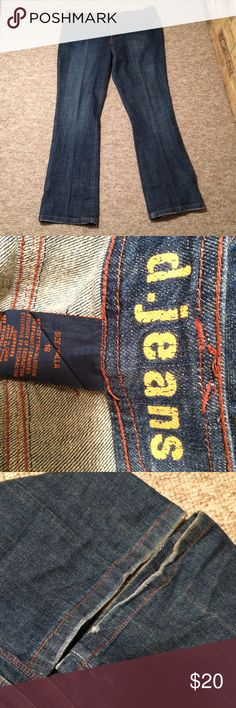 D.Jeans | Blue denim jeans with bronze details 16 Super cute straight leg jeans! In great condition with very little wear on the cuffs. Has bronze embellishments on back and front. Has functioning pockets. Size 16 D Jeans brand. D.Jeans Jeans Straight Leg