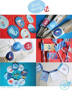 INSTANT DOWNLOAD sailboat party printables - nautical party printables, birthday printables, baby shower, beach party, 1st birthday, pdf. $15.00, via Etsy.