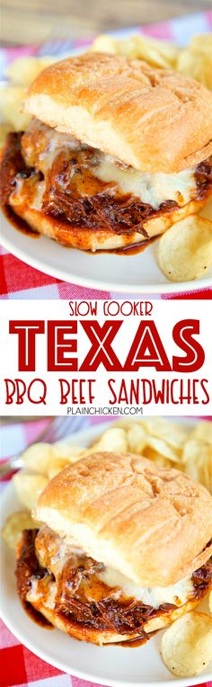 Slow Cooker Texas BBQ Beef Sandwiches - only 3 ingredients! Seriously delicious!! Serve beef on top of hamburger buns with a slice of cheese. Great for potlucks! We love this easy slow cooker beef recipe! Can freeze leftovers for a quick meal later!