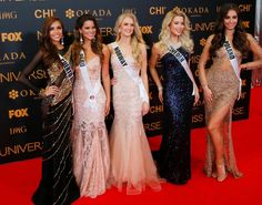 Miss Universe contestants, from left, Brenda Jimenez of Puerto Rico, Valeria Piazza of Peru, Christina Waage of Norway, Ida Ovmar of Sweden and Isabella Krzan of Poland on the red carpet on the eve of the coronation Sunday, Jan. 29, 2017, at the Mall of Asia in suburban Pasay city south of Manila, Philippines. Eighty-six contestants are vying for the title to succeed Pia Wurtzbach from the Philippines.#rexfabrics #fabrics #madetomeasure #hautecouture #couture #tecidos #telas #shoppingmiami
