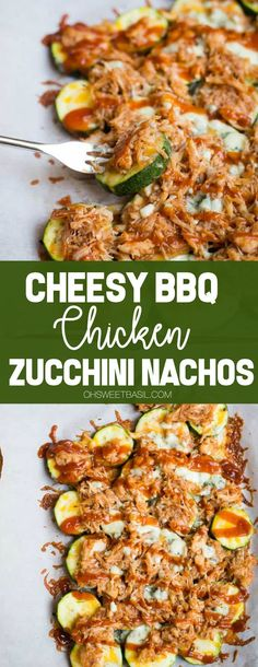Cheesy BBQ Chicken Zucchini Nachos - Oh Sweet BasilThanks jackie_garvin for this post.If you are looking for a healthy snack or easy dinner, then indulge in these BBQ Chicken Zucchini Nachos. Your kids will love them just as much as the adult# Basil Healthy Meal Prep, Healthy Dinner Recipes, Healthy Cooking, Healthy Dishes, Healthy Foods, Healthy Nachos, Quinoa Dishes, Dessert Recipes, Healthy Muffins
