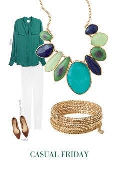 Love this summery casual Friday look: white skinnies + jewel toned silk button-up + light brown heels + statement necklace
