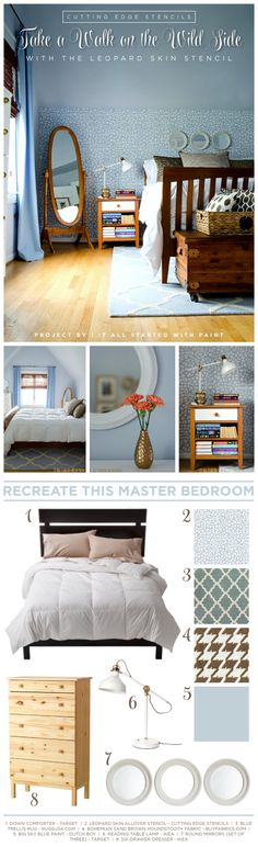 Steal this stenciled bedroom look using the Leopard Skin Allover pattern and these decor items. http://www.cuttingedgestencils.com/leopard-pattern-animal-skin-stencil.html