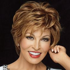 Elegant Short Side Bang Capless Fashion Brown Mixed Blonde Fluffy Wavy Synthetic Wig For Women