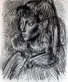 1954 Picasso Portrait de Sylvette David I Dessin Crayon sur papier 32x24 cm. #Cubismo #Art #XXs @deFharo