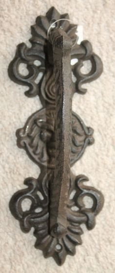 Heavy Cast Iron Door Pull Handle Antique Finish Ornate Victorian Lion Rustic