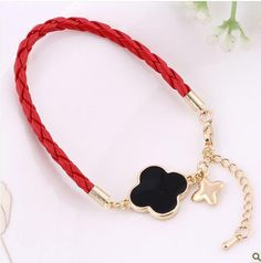 HOT Black Clover Red Rope Free Shipping Charm Bracelet Antiallergic Jade Chain Bijouterie Body Jewelry Women Accessories